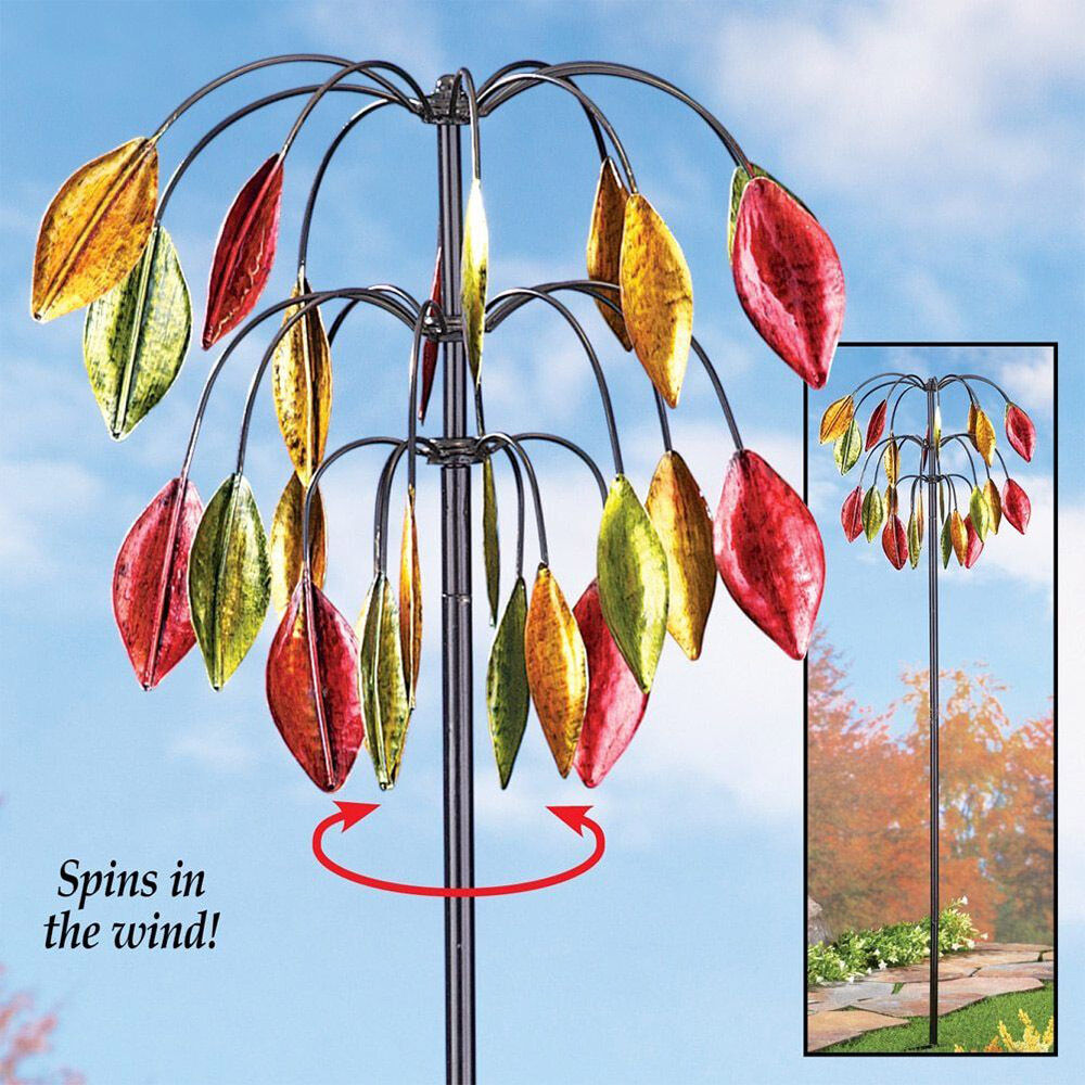 Garden Wind Spinners   Yard Wind Spinner Stake Garden Pinwheels Autumn  Leaves Metal Outdoor Decoration