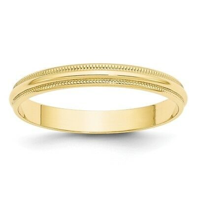 10K Yellow Gold 3mm Half Round Milgrain Wedding Band Lightweight Ring Sz 4 - 14 3mm Half Round Wedding Band