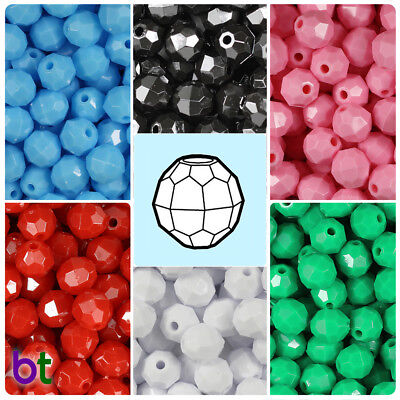10 Mm Faceted Beads - BeadTin Opaque 10mm Faceted Round Plastic Craft Beads (210pcs) - Color choice
