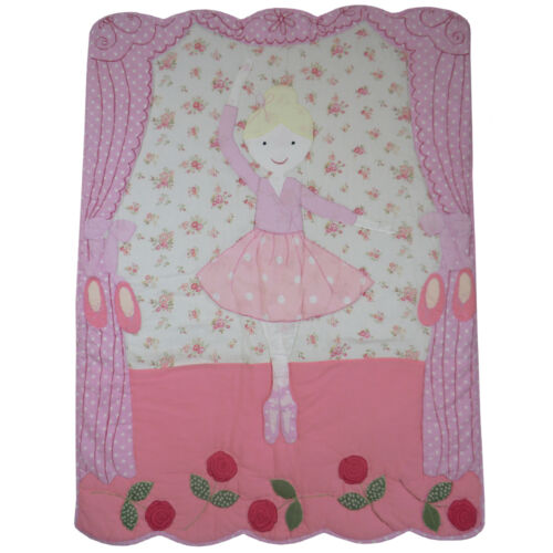 100% Cotton Patchwork Stitched Cot Quilt/Wrap-102x76cms-Powell Craft - Ballerina
