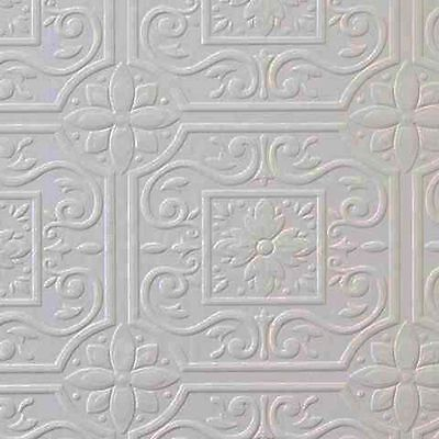 Tin Tile Wallpaper - Faux Tin Ceiling Tile Textured Paintable Wallpaper 497-59001 DOUBLE ROLL