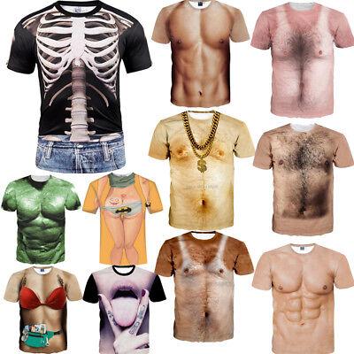 Women/Men 3D T-Shirt Funny Human Skeleton Muscle Casual Short Sleeve Tops -