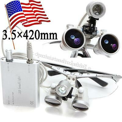 U Silver Dental Surgical Loupes 3.5x 420mm Optical Glass And Led Head Light Lamp