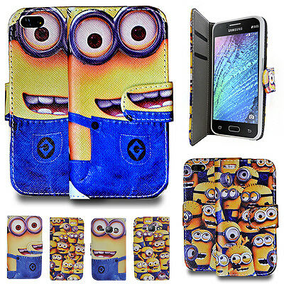 Despicable Me Minion Wallet Flip Book Case Cover For Xperia Samsung Apple Phones