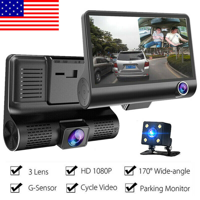 1080P 4 inch Car DVR Dash Cam Front Rear Video Recorder Camera Dual Lens 170° HD
