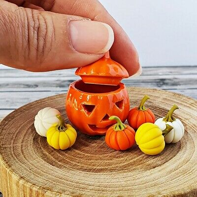 Dollhouse Miniatures Halloween Pumpkin in Ceramic Pot Carved Jar Jack-O-Lantern
