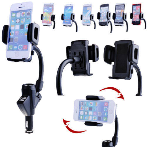 Dual Car Cigarette Charger Phone Mount Holder for iPhone 5S 5C 5 4S 4 iPod Touch
