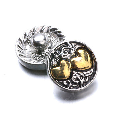 Small Snap - SMALL SNAP * DOUBLE HEARTS  Snap Chunk Jewelry 12mm Interchangeable Jewelry