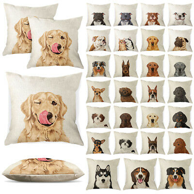 Set of 2 Dog Design Sofa Pillow Case Cushion Cover With Zipper Closure ()