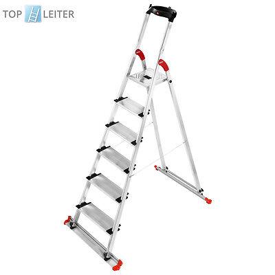 Hailo XXL Garden & Home Haushaltsleiter 6 Stufen mit EasyClix Stehleiter