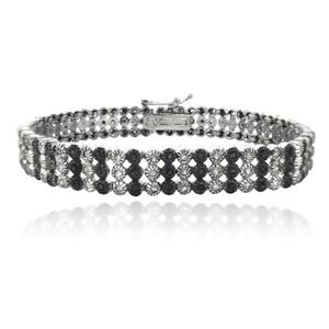 925 Sterling Silver 2Ct Black And White Diamonds Three Row Tennis Bracelet