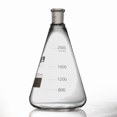 2000ml2440 Glass Erlenmeyer Flask Conical Bottle Laboratory Glassware Top