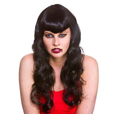 Adult Ladies Glamorous Vampire Black Halloween Fancy Dress Costume Wig