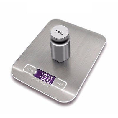Rechargeable Food Scale USB Kitchen Scale w Back-Lit LCD Stainless Steel 5kg/1g