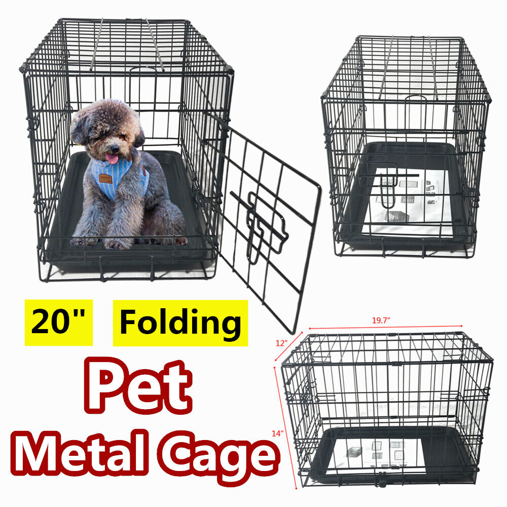 """20"""" Small Cat Dog Puppy Pet Kennel Folding Steel Crate Playp"""