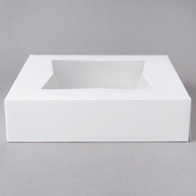 White Square Pastry Bakery Box Auto-popup Window Pie 10 X 10 X 2 12 200-pack