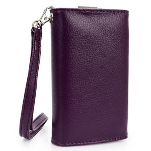 Slim Purple Flip Designer PU Leather Smartphone Wrist-Let Cover Pouch Bag Guard