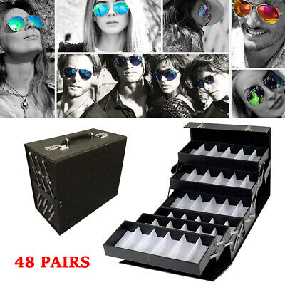 48 Pair Foldable Loackable Eyeglass Sunglasses Glasses Storage Box Display