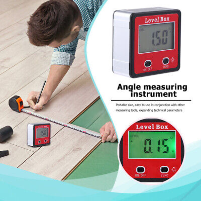 Digital Lcd Protractor Gauge Angle Finder Bevel Level Box Inclinometer Meter Usa