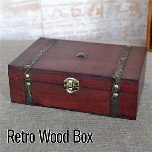 Wooden Vintage Treasure Chest Wood Jewellery Storage Box Case Organiser Ring