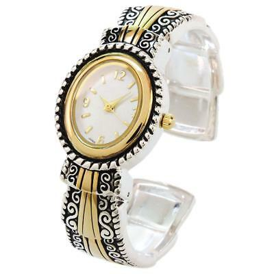 2Tone Metal Western Style Decorated Oval Face Women's Bangle Cuff -