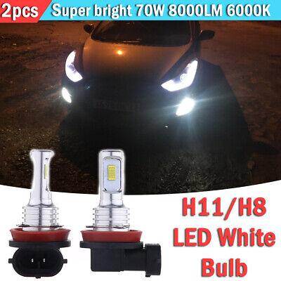 2pcs H11 H8 H16 LED Fog Light Bulbs Conversion Kit OEM Upgrade Lamp 70W 6000K