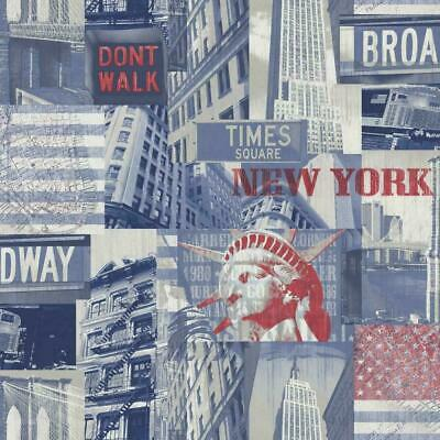 Arthouse Broadway 618302 Blue Red New York City Feature Wallpaper