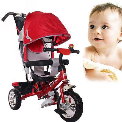 Dreirad Kinder mit Dach Lenkstange Dreiräder Fahrrad Baby Kinderdreirad Rot