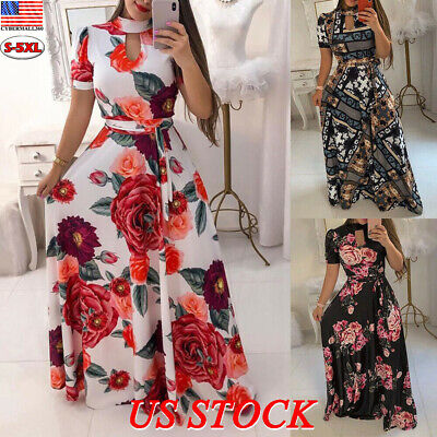 Ladies Holiday Dresses (US Women Plus Size Summer Floral Maxi Long Dress Ladies Party Holiday)