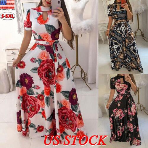 US Women Plus Size Summer Floral Maxi Long Dress Ladies Part