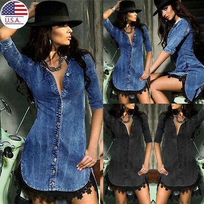 ✅Women Denim Shirt Dress Sleeveless A Line Casual Maxi Long Dress Party Cocktail