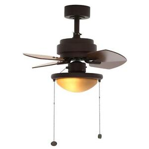 24'' Indoor Compact Ceiling Fan w/ Light Reversible Tiny Room Small Spaces Decor