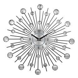 Decorative Crystal Sunburst Metal Wall Clock Home Art Decor Diameter 13 inch New