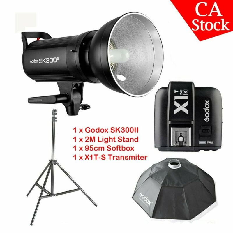US Godox SK300II 300W 2.4G Studio Flash 95cm softbox Light stand +X1T-S for Sony