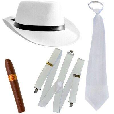 Al Capone Mafia Gangster Hut + Krawatte + Hosenträger + Zigarre - 20er weiss (Hut Träger)