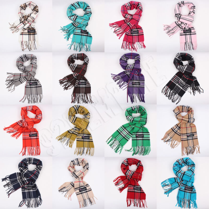 Men Women 100% CASHMERE Scarf Winter Plaid Check Wool Scarves