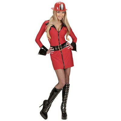 Lady Firefighter Costume (Ladies Firefighter Fire Girl Fancy Dress Costume Uniform Emergency Services)