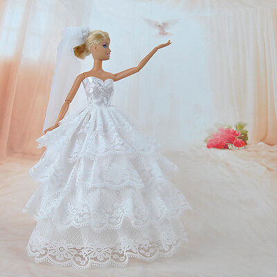 Handmade Princess Wedding Party Dress Clothes Gown With Veil For Girl Dolls S