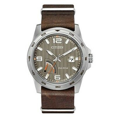 Citizen Eco-Drive Men's AW7039-01H Tuape Dial Brown Leather Band 42mm Watch