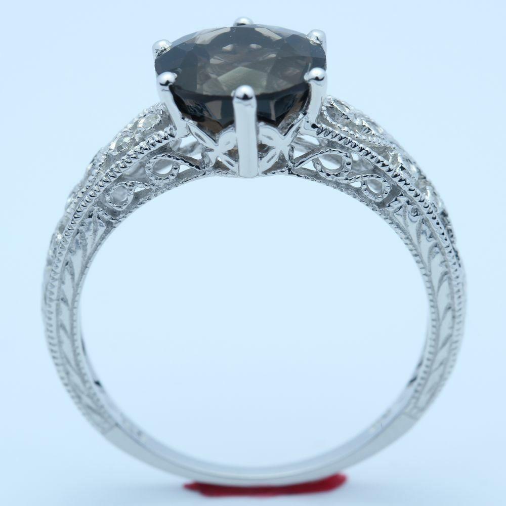 Solid 14k White Gold Smokey Quartz Prong Setting Antique Filigree Wedding Ring: Antique Filigree Wedding Rings At Reisefeber.org