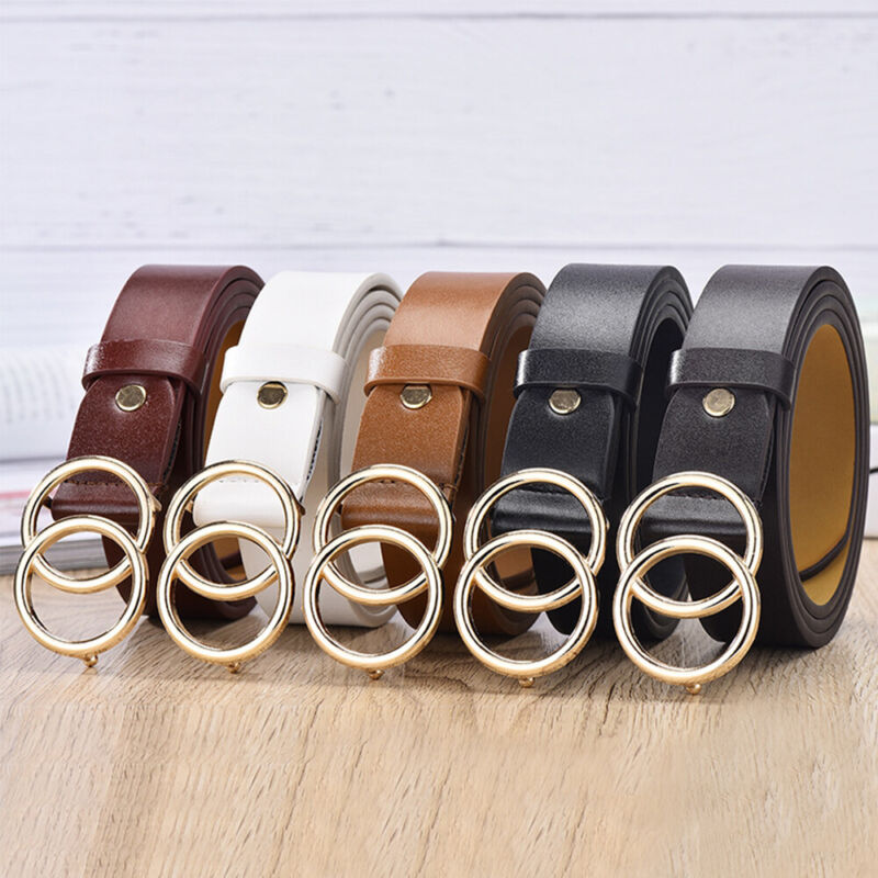 Candy Color Skinny Waist Belt Thin Leather Narrow Waistband Double Round Buckle