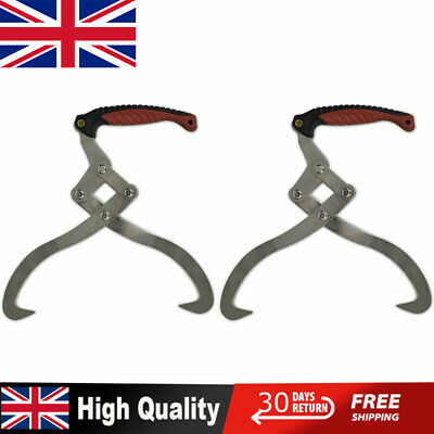 2x Timber Log Tongs Wood Mover with TPR Handle Forestry Grabber Skidding Lifting
