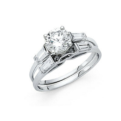 - 14k White Gold Diamond Solitaire Engagement Ring Set Baguette Wedding Band