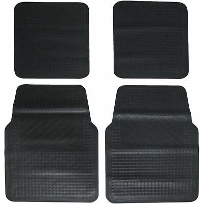 Car Parts - Equip 4 Piece Rubber Utility Heavy-Duty Car Floor Mat Set - Black