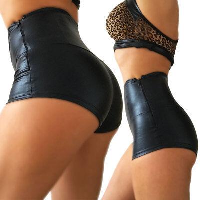 High Waist Hotpants glanz schwarz Tanz Ballett Poledance hoch kurze Hose Panty