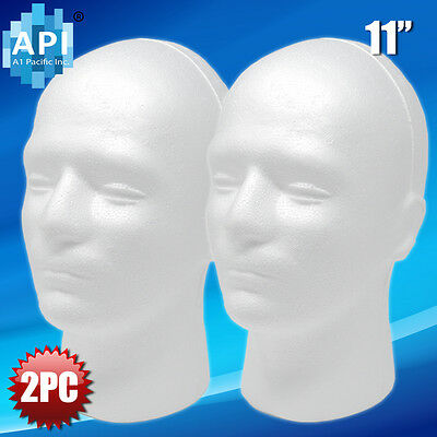 New Male Styrofoam Foam Mannequin Manikin Head 11 Wig Display Hat Glasses 2pc