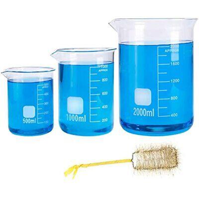 Thick Borosilicate Glass Graduated Beakers Set 500ml 1000ml 2000ml Large Low
