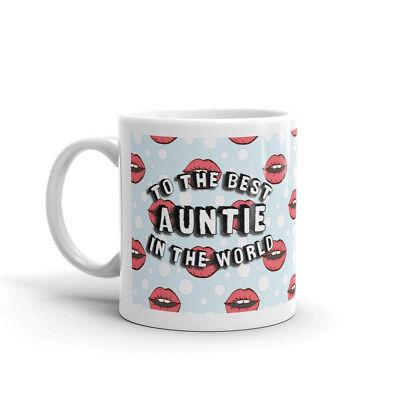 Best Auntie in the World Mug - Retro Cartoon Lips Bubbles Pop Art (Best Lips In The World)