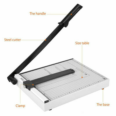 Paper Cutter 12 A4 To B7 Metal Base Guillotine Page Trimmer 15 Sheets Capacity