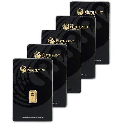 FIVE (5) 1 gram Gold Bar - Perth Mint - 99.99 Fine in Assay